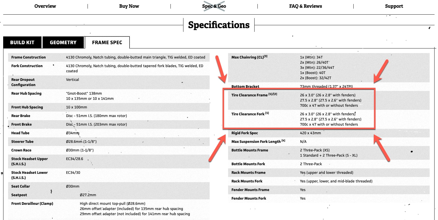 Webpage showing specifications for a Surly bike, with a red box & arrows pointing out the frame and fork tire clearance