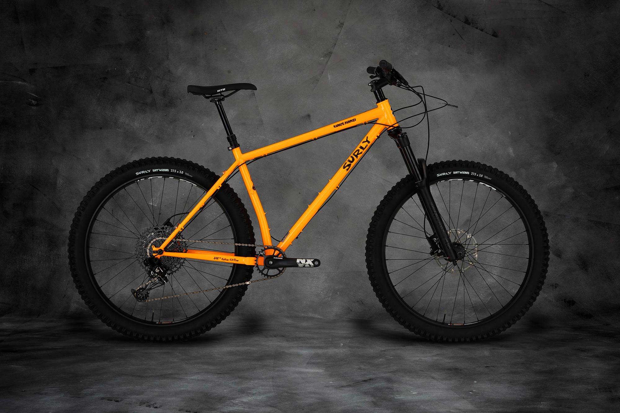 Surly Karate Monkey Bike - Toxic Tangerine - right side view