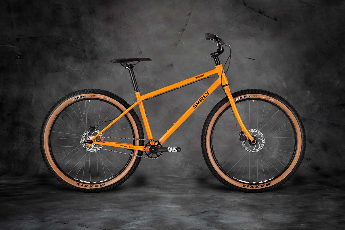 Surly Lowside Bike sideview - Dream Tangerine on gray background