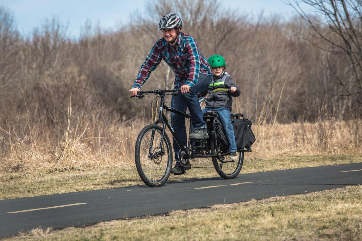 Big Dummy Long-Tail Cargo Bike with Child