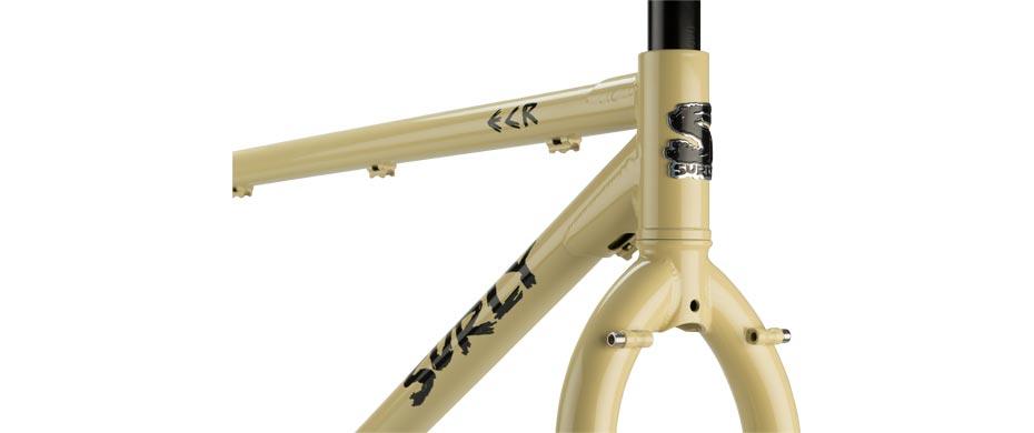 ECR beige frameset headtube detail view