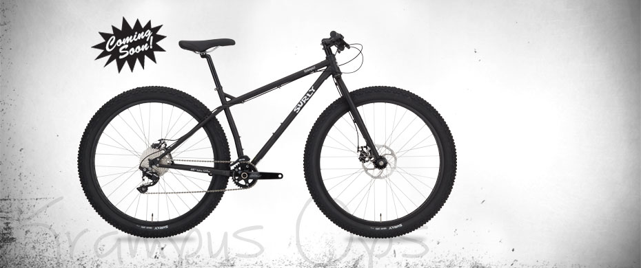 Surly Krampus Ops bike - black - right side view - faded white background with a