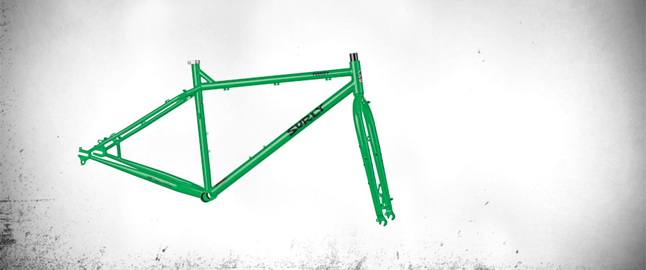 Surly Pugsley bike frame - green - right profile view