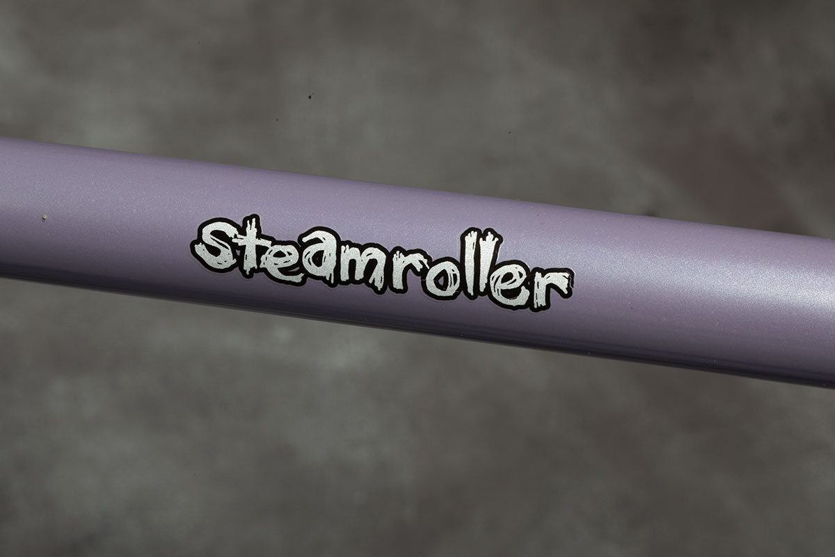 Steamroller Top Tube / Decal Close-Up