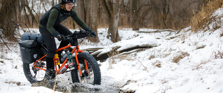 Riding Surly Pugsley through a creek in winter