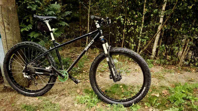 Right side view of a black, Surly Troll bike, standing in grass and dirt, with the woods in the background