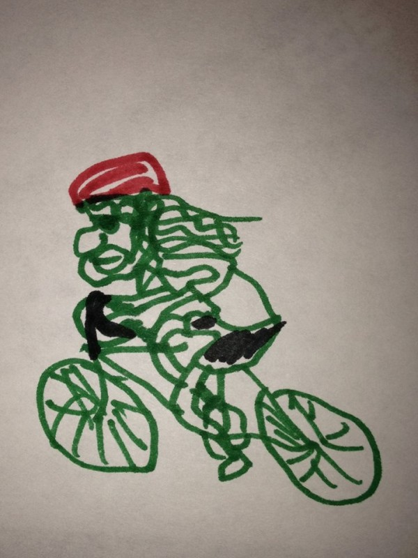 A line drawing of a cyclist on bike, done with markers on white paper