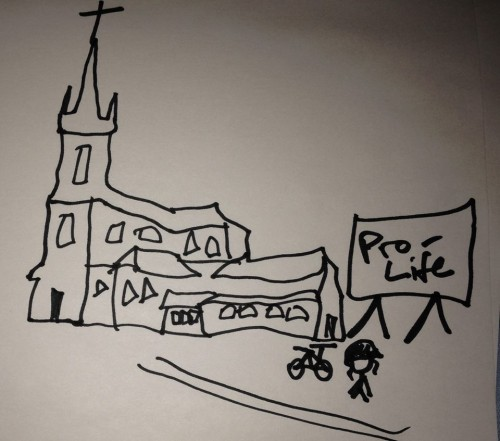 A line drawing of a church, with cyclist and bike next to it, done with markers on white paper
