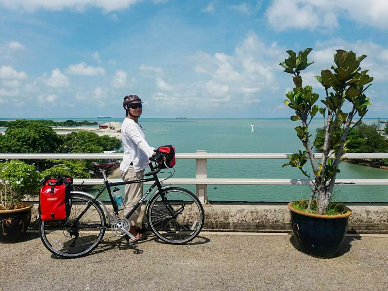 Right side of a Surly bike with a cyclist standing on the left side, on a bridge, with tropical waters in the background