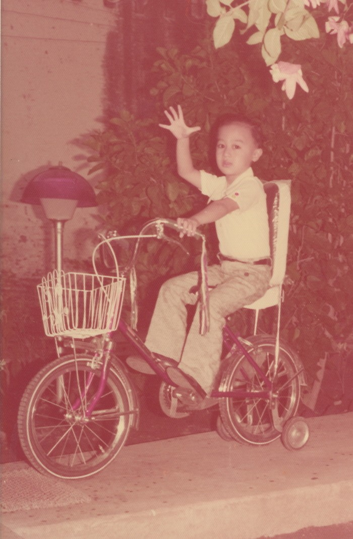 Small child with raised arm on a purple bike with training wheels and front basket on a walkway on the side of a home