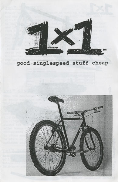 Surly Bikes 1998 catalog cover - black text, with rear, right side image of a bike - black & white