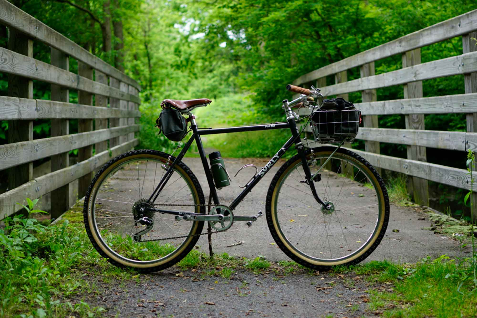 Right side view of Surly Pack Rat bike with front basket on a trail bridge on a paved trail in the woods