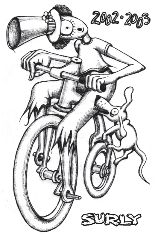 Surly Bikes 2003 catalog cover - black text with a pencil drawing of an animated, cyclops person on a bike-black & white