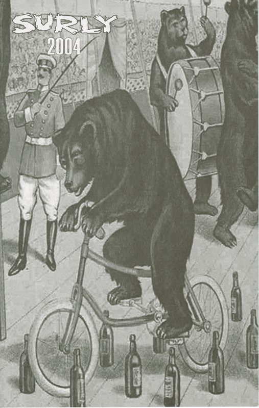 Surly Bikes 2004 catalog cover - an animated drawing of a bear riding a bike in a circus - black & white