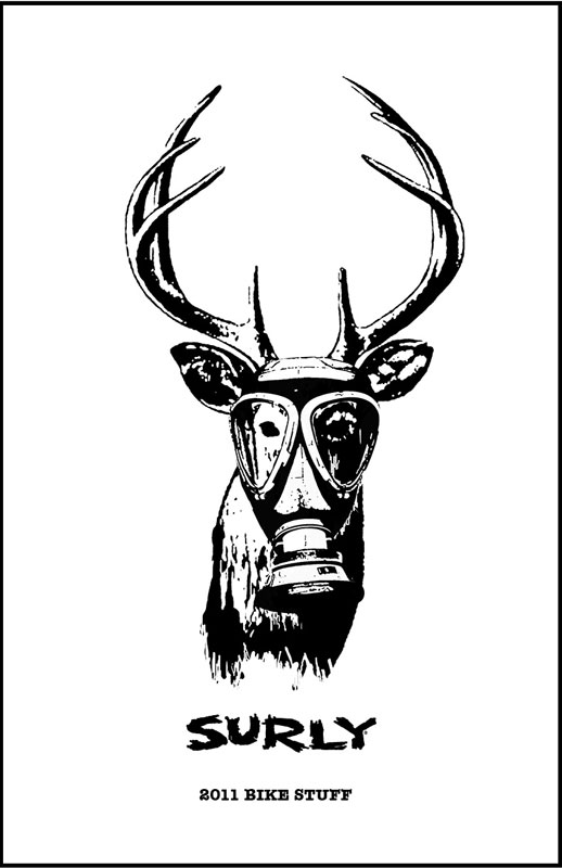 Surly Bikes - 2011 Catalog Cover - Black and white drawing of a white tail deer, wearing a gas mask