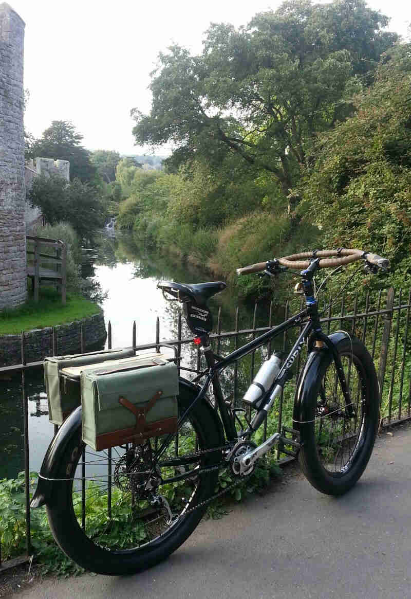 Rear right side view of a black Surly Troll bike, leaning on a iron fence, with a river below in the background