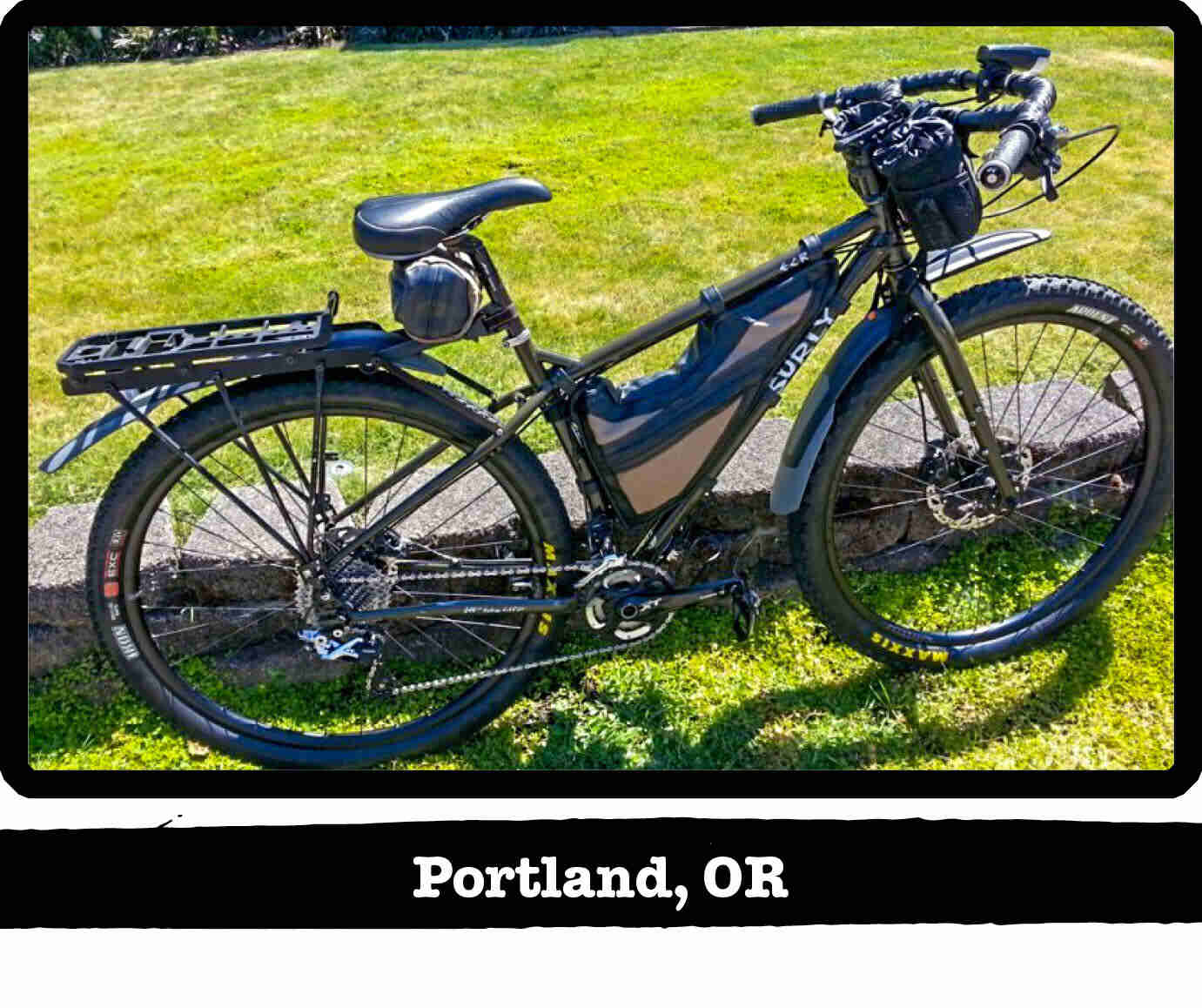 Right side view of a Surly ECR bike on grass - Portland, OR tag below image