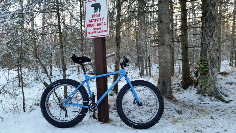 Right side view of a blue Surly fat bike, parked in snow against a, High Activity Bear Area, sign post in the forest