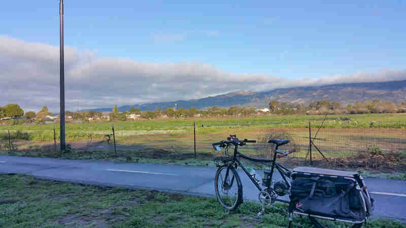 Left side view of a black Surly Big Dummy bike, parked in grass along a trail, with mountains in the background