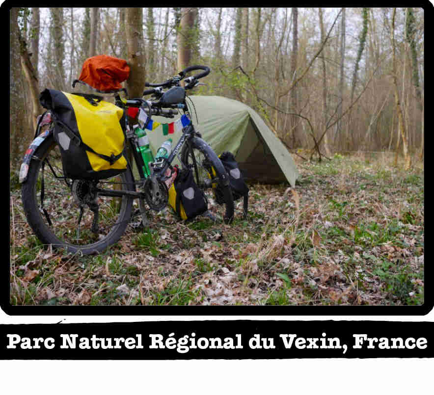 Right side rear view of a Surly bike with gear, in the woods - Parc Naturel Regional du Vexin, France tag below image