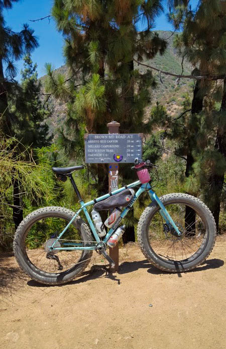 Right profile of a Surly Wednesday MY17 fat bike, mint, parked on dirt in front of sign, with trees in the background