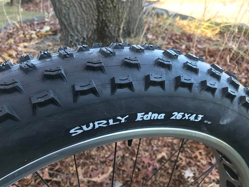 Profile view of the top of a fat bike rim with a Surly Edna tire