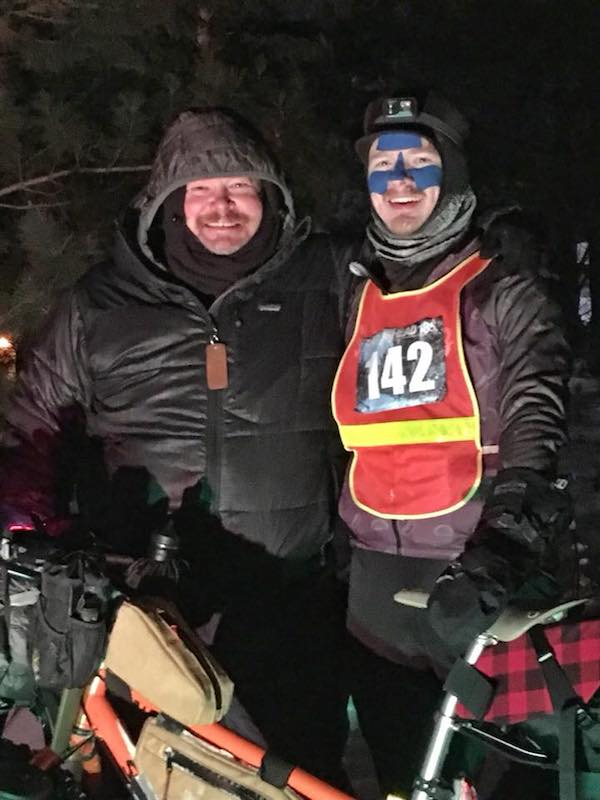 Miker and I right after I'd crossed the finish line.