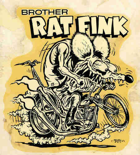 Animated illustration of a sharp-toothed rat, riding a chopper motorcycle, and the words,