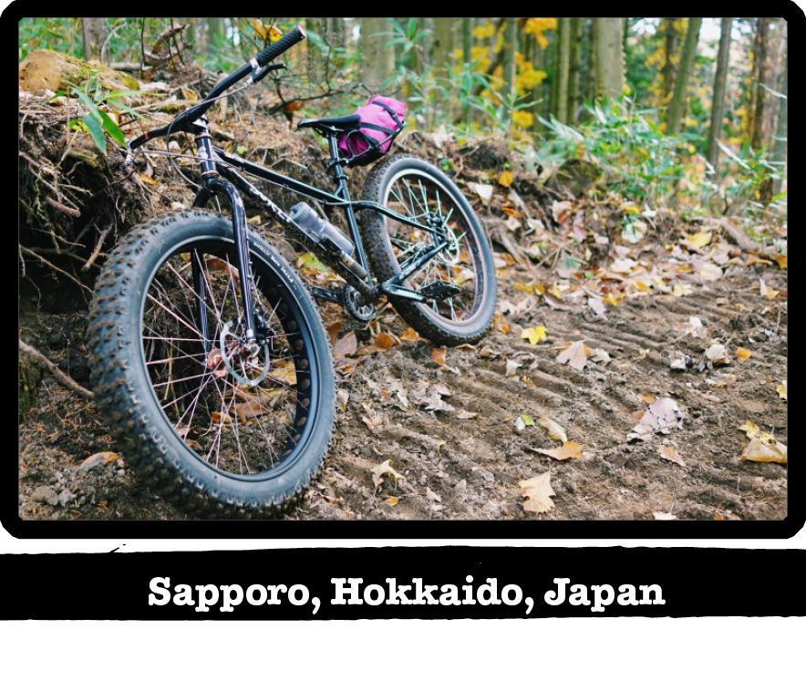 Front view of a Surly bike leaning on a dirt mound next to a woodsy trail-Sapporo, Hokkaido, Japan banner below image