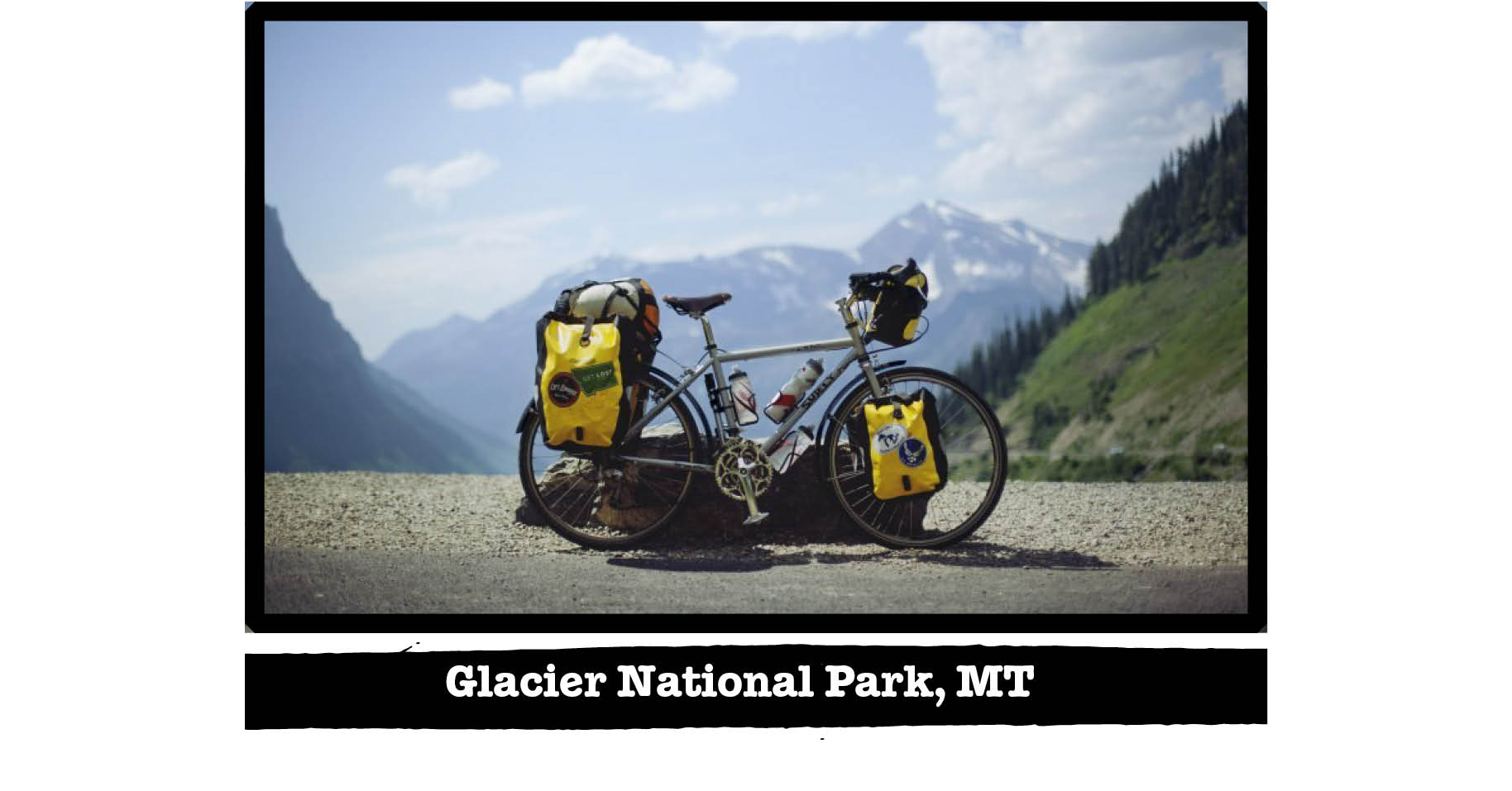 Right view of Surly Trucker bike on the edge of a road in the mountains - Glacier National Park, MT tag below image