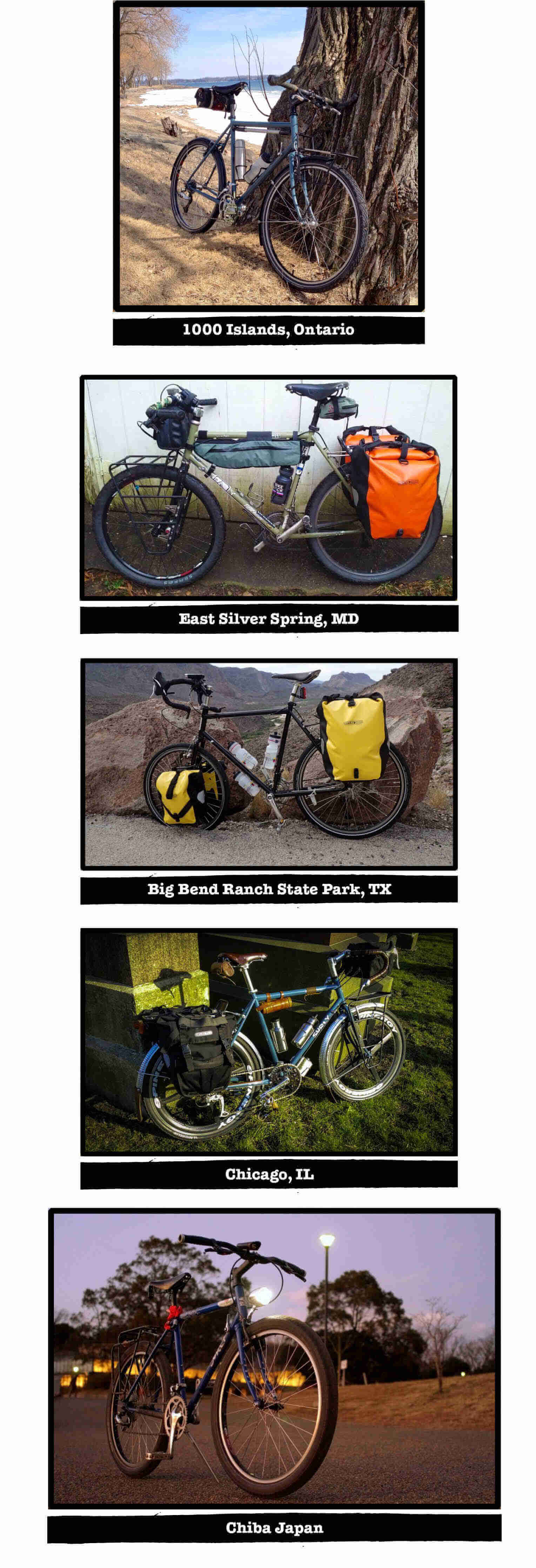 Multiple images of Surly Trucker bikes, with tags of their specific location listed below each image