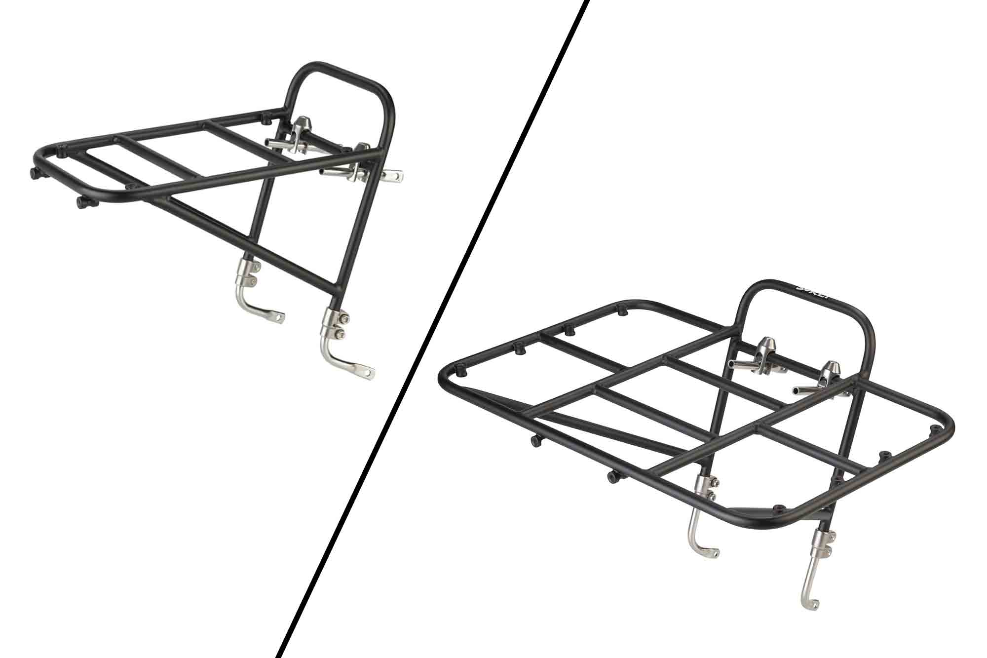 Right angled profile view of Surly 8 and 12 Rat Pack bike gear rack, black, separated with an angled line