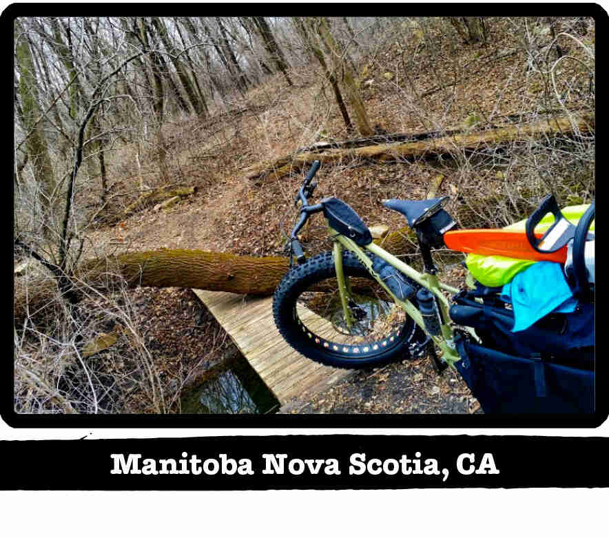 Rear view of a Surly Big Fat Dummy bike, green, in front of a trail bridge - Manitoba Nove Scotia, CA tag shown below