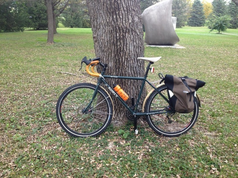 Left profile view of a Surly Disc Trucker bike, leaning on a tree in a field, with a sculpture in the background