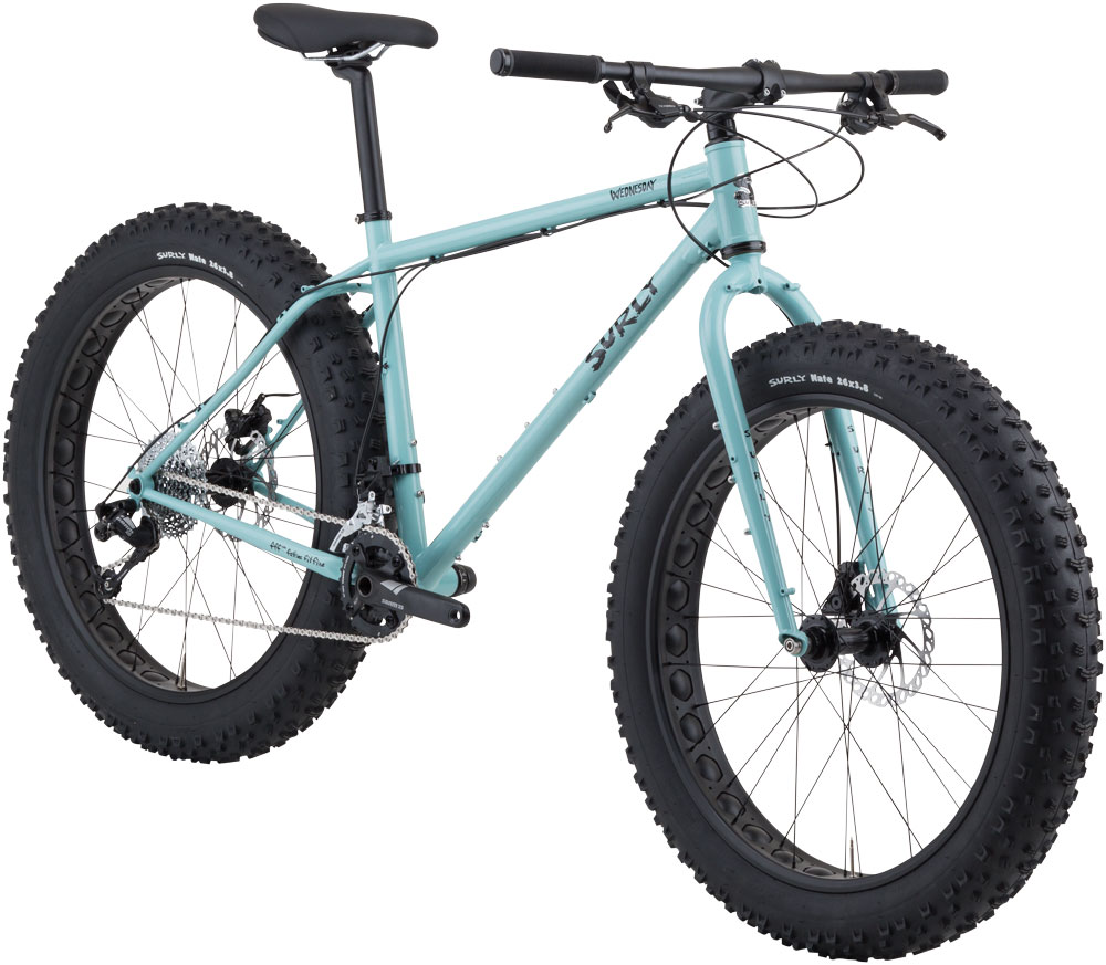 Surly Wednesday fat bike - light blue - front angled, right side view