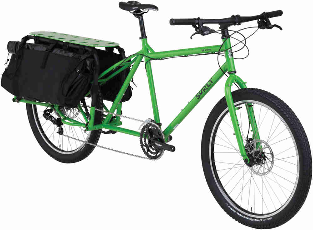 Surly Big Dummy bike - day glow green - angled right front view - against a white background