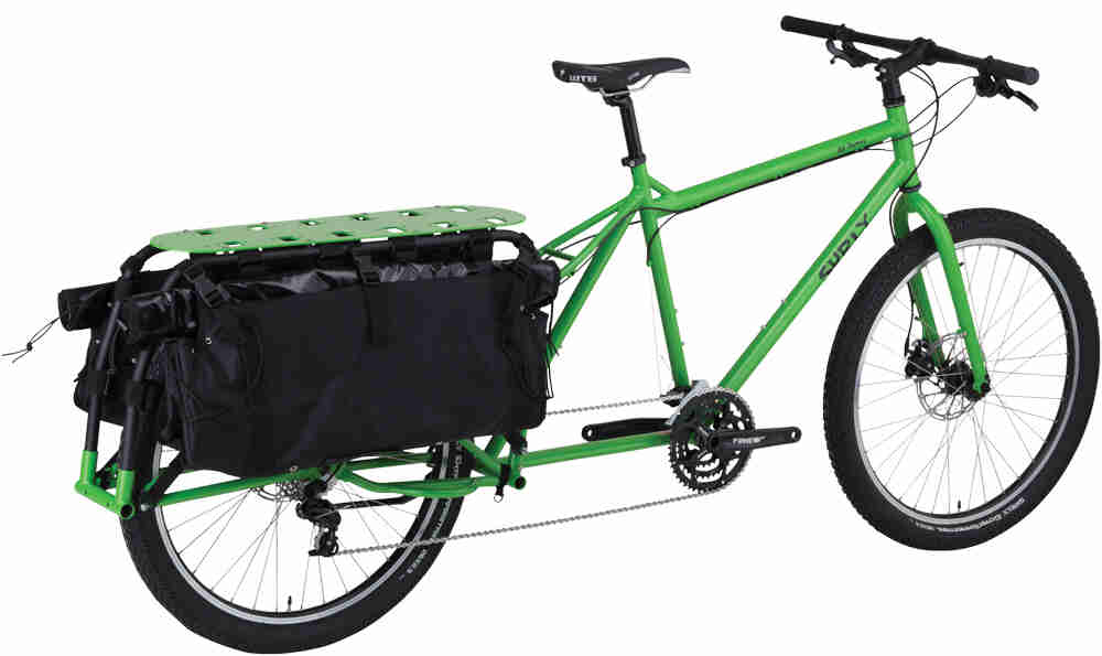 Surly Big Dummy bike - day glow green - angled right rear view - against a white background