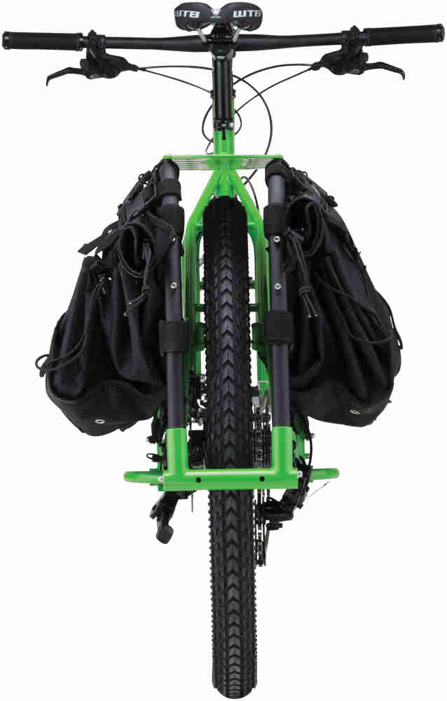 Surly Big Dummy bike - day glow green - rear view - against a white background