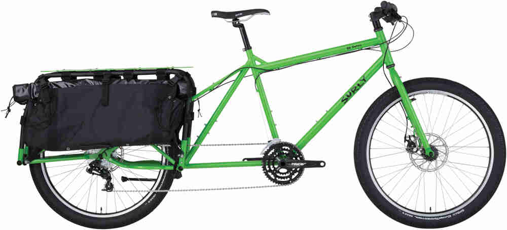 Surly Big Dummy bike - day glow green - right side view - against a white background