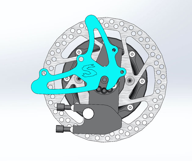 Illustrated profile of a axle plate, brake disc and brake caliper of a Surly Bridge Club bike