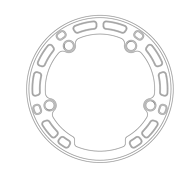 Engineering, black and white drawing of the chain-guard for a Surly X-Sync Narrow-Wide chainring