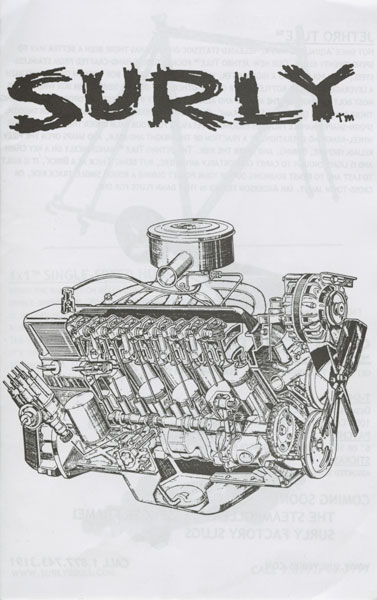 Surly Bikes catalog cover - black text, with a pencil drawing of a car engine - black & white