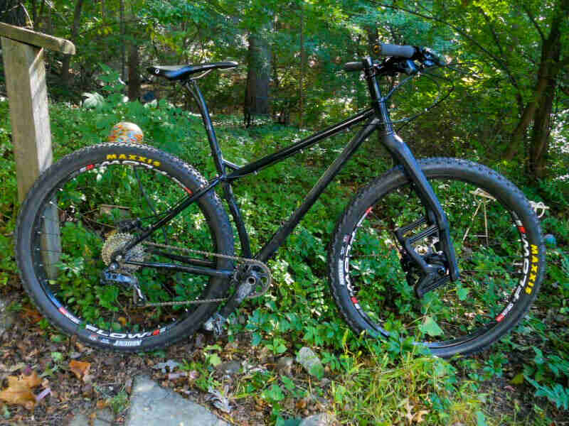 Right side view of a black bike, parked on weeds on the woods