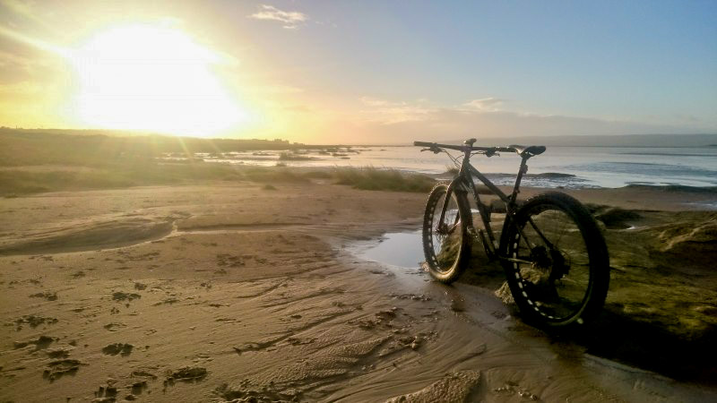 Left rear view of a Surly Krampus bike, on a sandy seashore, with the sun on the horizon in the background