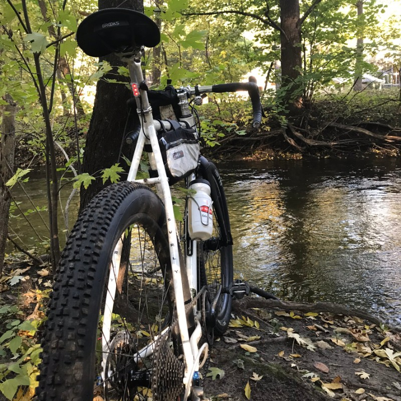 Rear view of a Surly Midnight Special bike facing across a stream in the trees