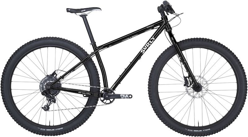 Right profile view of a Surly Krampus bike, black, with a white background