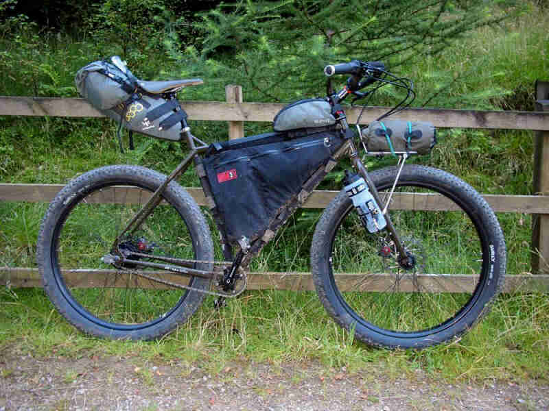 Right side view of a Surly ECR bike, olive, against a wood fence, with thick trees in the background