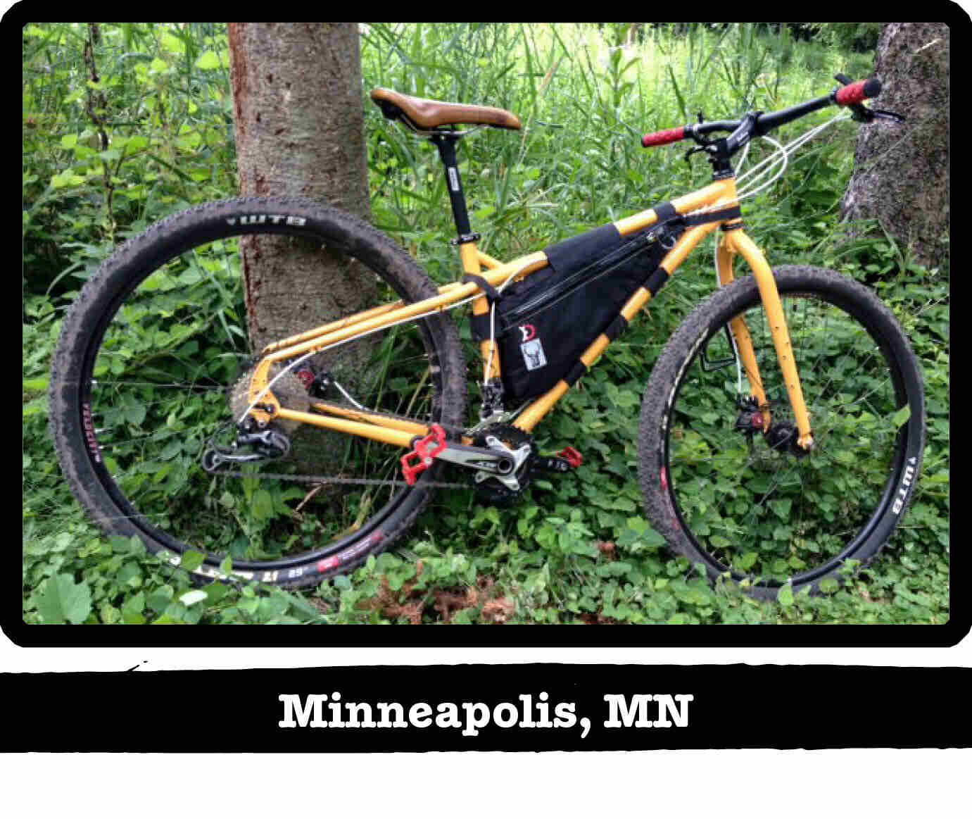 Right side view of a Surly ECR bike, yellow, against a tree in the weeds - Minneapolis, MN tag below image