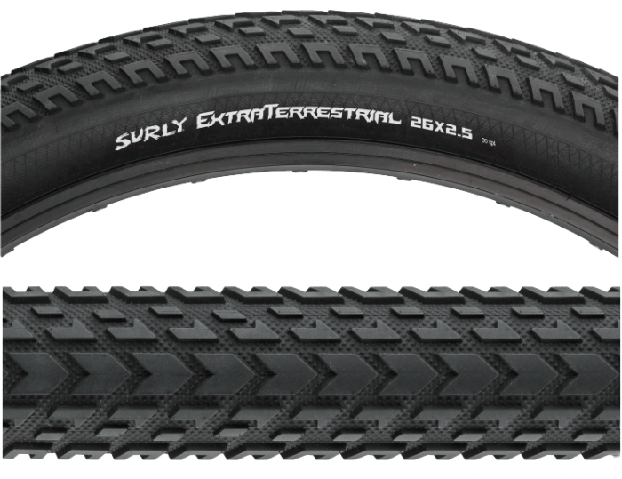 Surly ExtraTerrestrial tire - 2 Cropped sections - (Top image) Side detail - (Bottom image)Tread detail