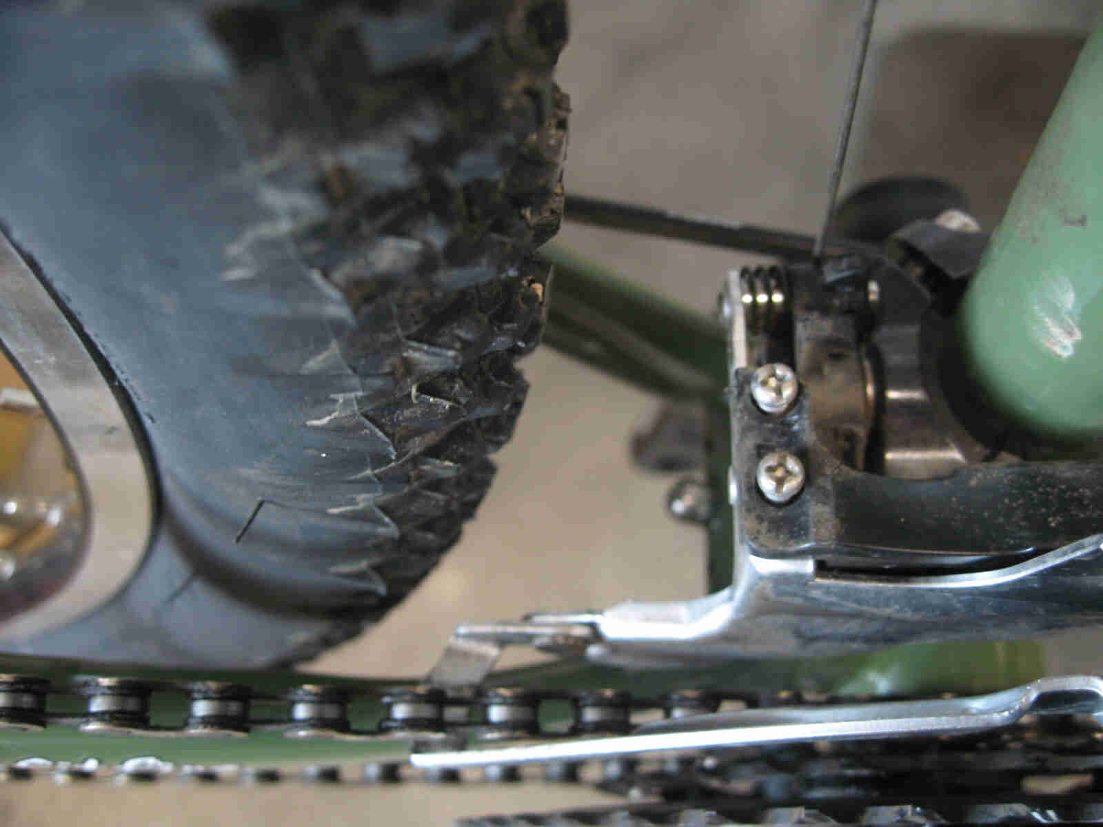 Surly Ogre bike - green -  crank and front derailleur detail - drive side close up view